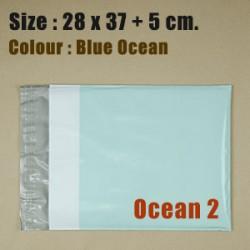 ซองไปรษณีย์พลาสติก สีฟ้าน้ำทะเล ขนาด 28x37 cm. (Ocean2) ชุดละ 50 ใบ