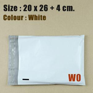 ซองไปรษณีย์พลาสติก สีขาว ขนาด 20x26 cm. (W0) ชุดละ 50 ใบ