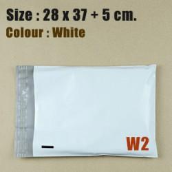 ซองไปรษณีย์พลาสติก สีขาว ขนาด 28x37 cm. (W2) ชุดละ 50 ใบ